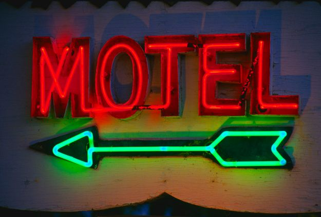 Neon Motel Sign and Arrow
